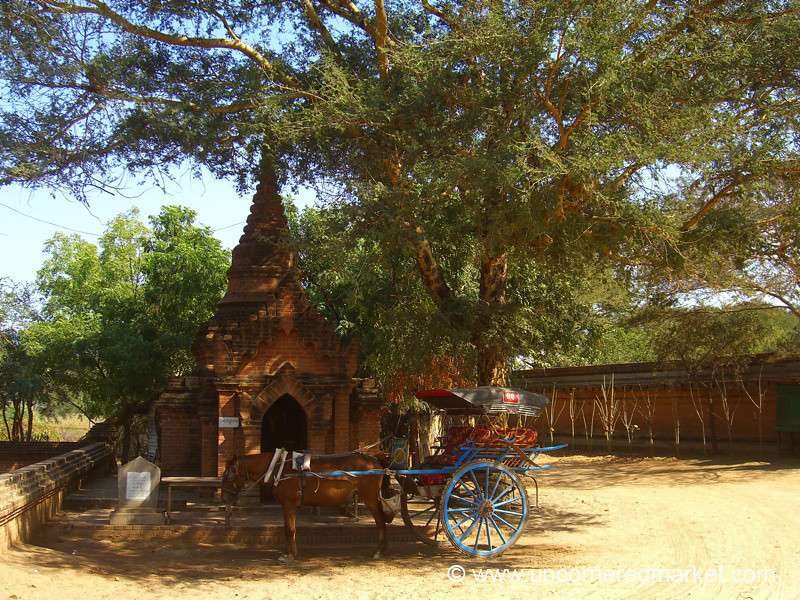 Horse and Buggy Parking Lot - Bagan, Burma