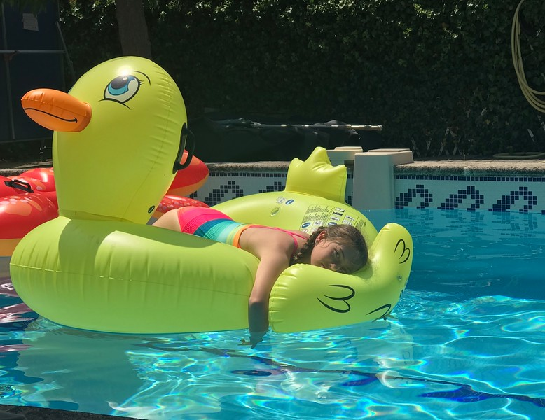Hayden Lounging on Duckie
