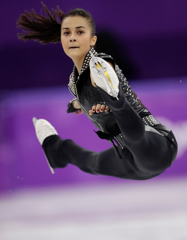 . Ivett Toth of Hungary performs during the women\'s short program figure skating in the Gangneung Ice Arena at the 2018 Winter Olympics in Gangneung, South Korea, Wednesday, Feb. 21, 2018. (AP Photo/Bernat Armangue)
