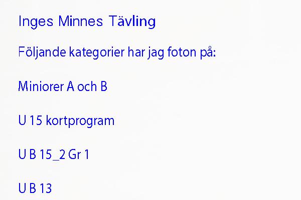 Inges Minnes tävling 2019