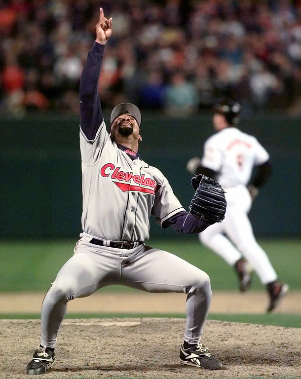 . JOSE MESA -- Cleveland Indians pitcher Jose Mesa celebrates the last out of Game 6 of the American League Championship Series against the Baltimore Orioles on Oct. 15, 1997, at Camden Yards in Baltimore.  (AP Photo/Doug Mills)