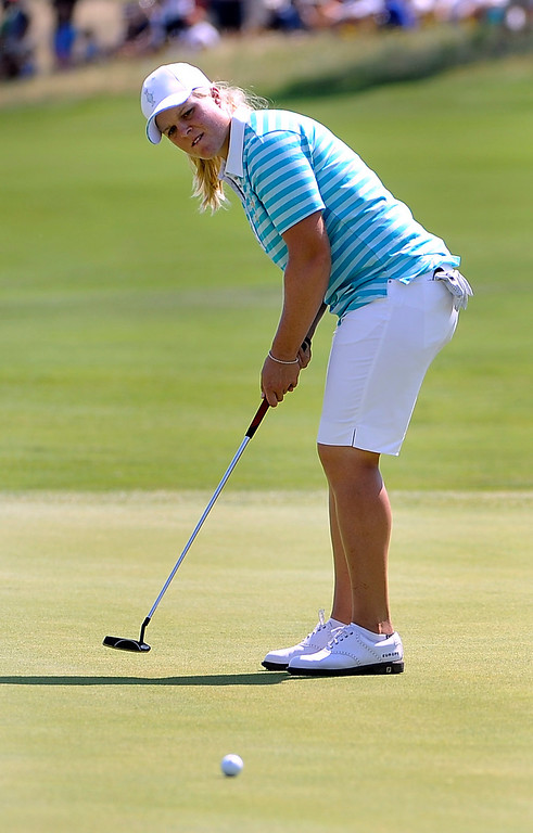 . PARKER, CO - Aug.17: Team Europe\'s Caroline Hedwall concentrates on her putt. The 2013 Solheim Cup takes place at the Colorado Golf Club with the USA taking on Europe in the Saturday morning Foursomes Match. (Photo By Kathryn Scott Osler/The Denver Post)
