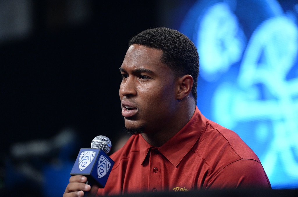 . USC (LB) Hayes Pullard. Pac12 media Day at Sony Studios.  Photo by Brad Graverson 7-26-13