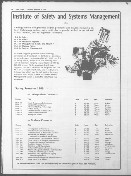 Daily Trojan, Vol. 107, No. 41, November 03, 1988