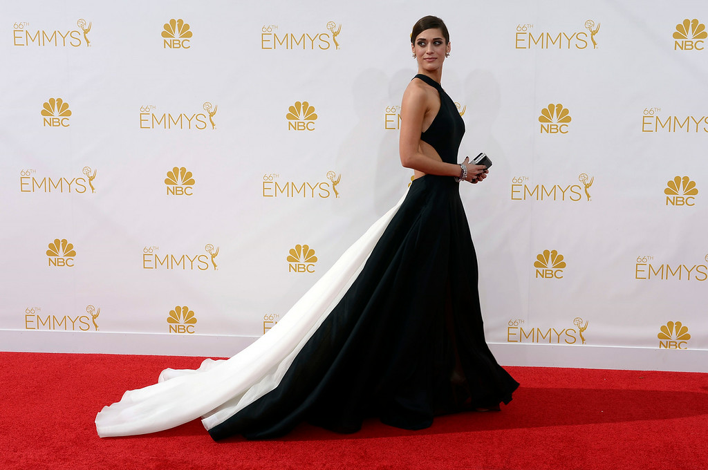 . Lizzy Caplan on the red carpet at the 66th Primetime Emmy Awards show at the Nokia Theatre in Los Angeles, California on Monday August 25, 2014. (Photo by John McCoy / Los Angeles Daily News)
