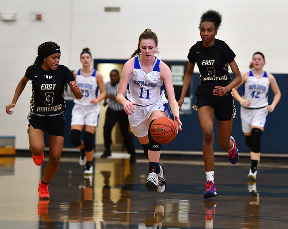 2/20/2020 Mike Orazzi | StaffrBristol Eastern's Ciara Collins (11) during Thursday night's CCC girls basketball game with East Hartford in Bristol. r