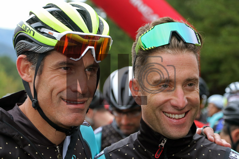 George Hincapie and Christian Vande Velde prepare to ride at the Gran Fondo Hincapie Greenville in Travelers Rest, S.C., on October 19, 2019