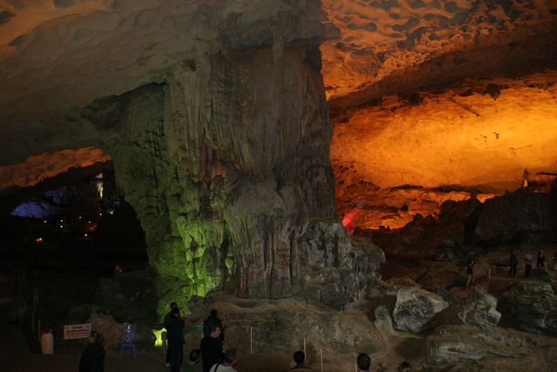One of the huge caves you can explore during a visit to Halong Bay, Vietnam and the fishing village there.