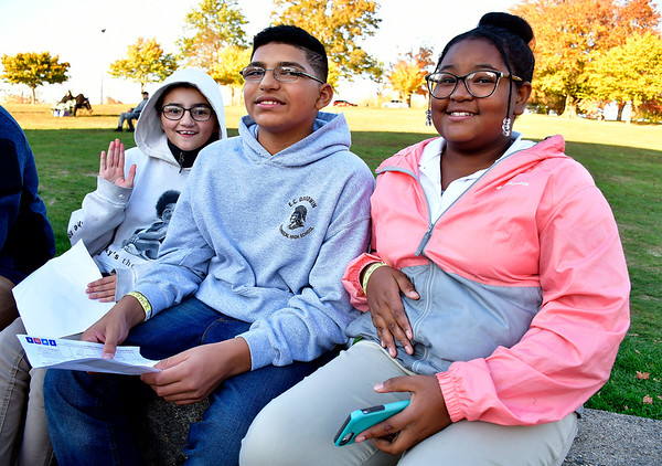 0/24/2019 Mike Orazzi | StaffrDesiree Villanueva, Meletrich and Michaela Clay while at the Lights On Afterschool event at Walnut Hill Park organized by the Youth and Workforce Group of the Coalition for New Britains Youth on Thursday evening. r