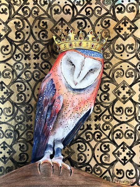"""""""Owl King"""" (acrylic, pencil, pen on paper) by Bryun Holt"""