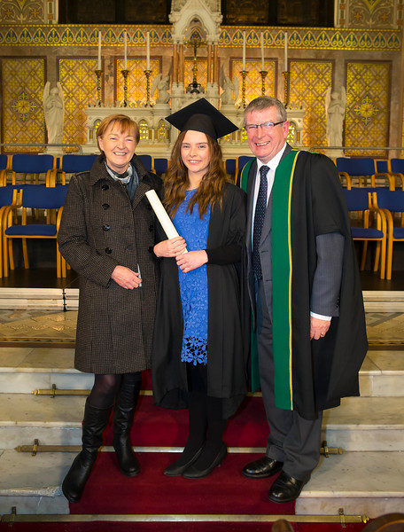 Waterford Institute Of Technology Conferring. Pictured at WIT Waterford Institute Of Technology Conferring is Fiona Cullen, Kilkenny who graduated Diploma in Restaurant Management, also pictured is Ray and Christina Cullen. Picture: Patrick Browne