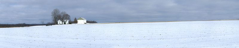 Small Farm, Big Snowy Field. Near Youngstown, OH.