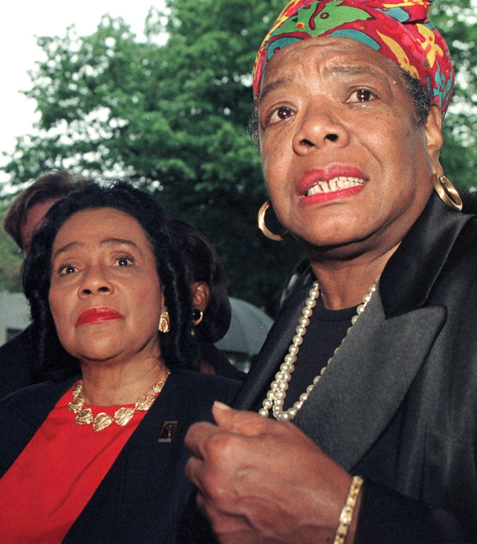 . In thisJune 2, 1997 file photo, Coretta Scott King (L), widow of slain civil rights leader Martin Luther King Jr., and Maya Angelou speak to members of the media after visiting Betty Shabazz, the widow of slain civil rights activist Malcom X, at Jacobi Hospital in the Bronx, NY. Award-winning author, renowned poet and civil rights activist Dr. Maya Angelou has died. She was 86.  AFP PHOTO/FILES/Jon LEVY/AFP/Getty Images