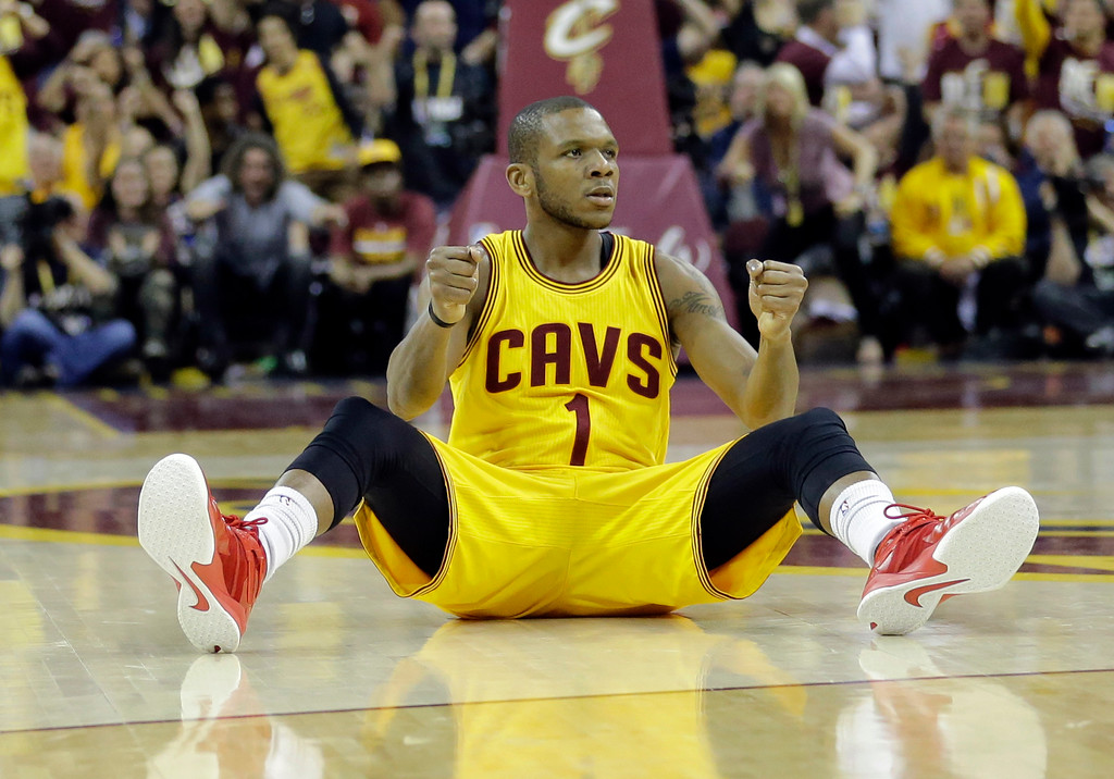 . Cleveland Cavaliers forward James Jones (1) celebrates after being fouled during the first half of Game 3 of basketball\'s NBA Finals against the Golden State Warriors in Cleveland, Tuesday, June 9, 2015. (AP Photo/Tony Dejak)