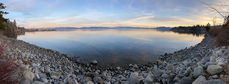 Panoramic view of Lake Tahoe from Tahoe City Beach
