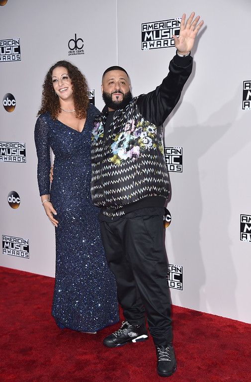 . DJ Khaled, right, and Nicole Tuck arrive at the American Music Awards at the Microsoft Theater on Sunday, Nov. 20, 2016, in Los Angeles. (Photo by Jordan Strauss/Invision/AP)
