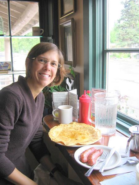 Karen's giant sourdough pancake and Caribou Sausage at Talkeetna Roadhouse