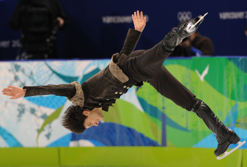 . Switzerland\'s Stephane Lambiel competes in the men\'s 2010 Winter Olympics figure skating short program at the Pacific Coliseum in Vancouver on February 16, 2010.            (YURI KADOBNOV/AFP/Getty Images)