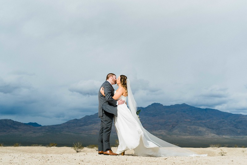 mountain view first look // bridal gown with long cathedral veil by Robert Bullock // Las Vegas Elopement  & Intimate Wedding Photographer - Kristen Krehbiel - Kristen Kay Photography