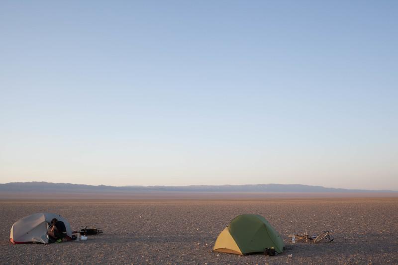 Wild Camping in the Gobi desert, Mongolia