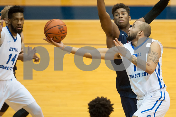 01/18/18 Wesley Bunnell | Staff CCSU Men's basketball defeated Fairleigh Dickinson University 66-65 at CCSU. Tyler Kohl (1).
