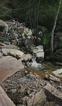 """""""Leisure in a mountain with a stream"""" (oil on linen) by Hua Du"""