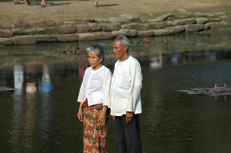 Elderly Couple at Angkor Wat - Angkor, Cambodia