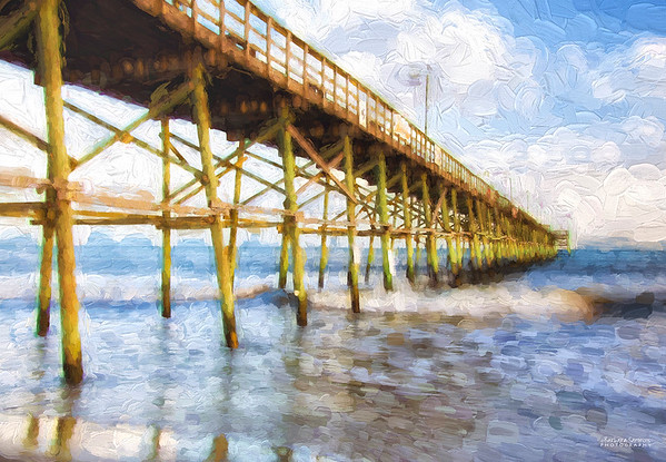 Yaupon Beach Pier-Painterly Effect, Oak Island, NC - Catalog #2037