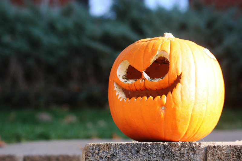 A jack-o-lantern sits outside Decker Hall for Halloween on the campus of Gardner-Webb University.