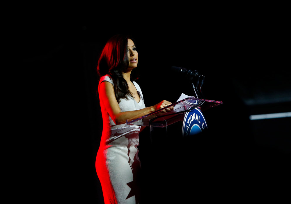 . Actress Eva Longoria speaks as part of a National Day of Service event on the National Mall in Washington D.C. January 19, 2013. REUTERS/Eric Thayer