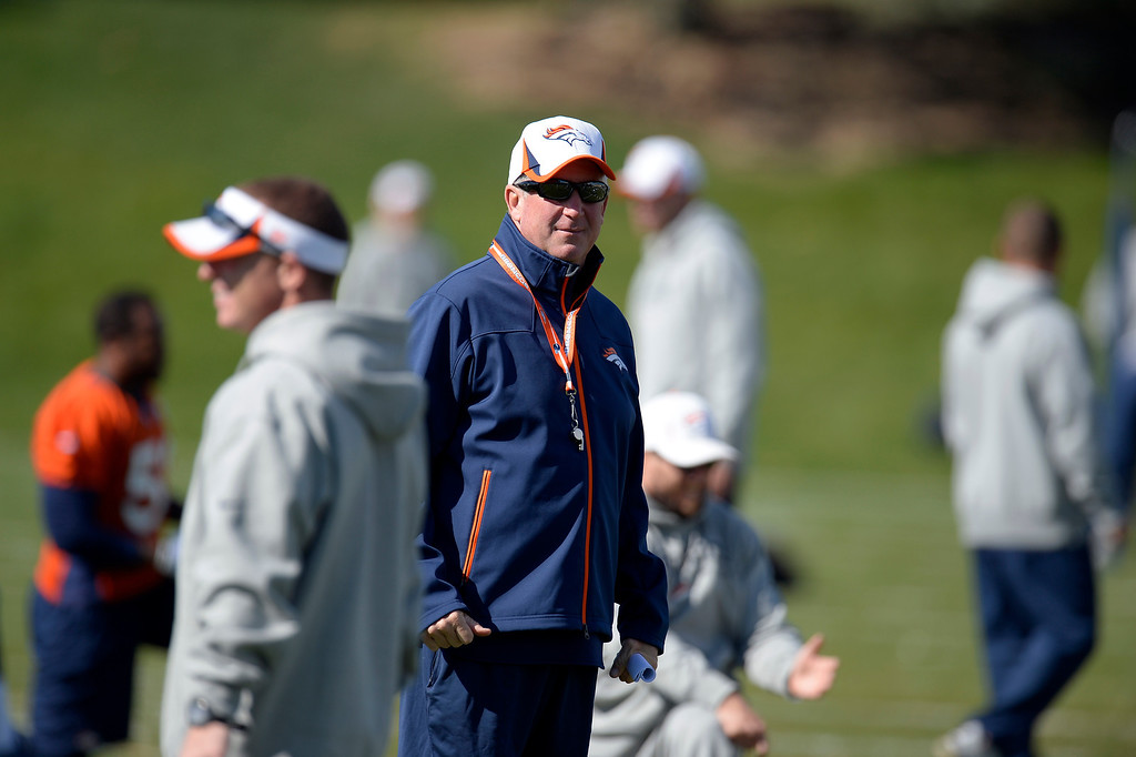 . Denver Broncos head coach John Fox of the looks on during practice October 16, 2013 at Dove Valley. (Photo by John Leyba/The Denver Post)
