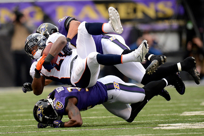. Denver Broncos running back Knowshon Moreno #27 picking up yards in the second half at the M&T Bank Stadium, in Baltimore, MD Sunday December 16, 2012.      Joe Amon, The Denver Post