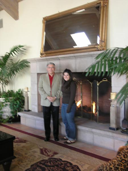 Prof. Ray Rodriguez and Briana Juhlin in the hotel lobby.