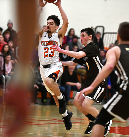 2/14/2020 Mike Orazzi | StaffrTerryville High School's Sean O'Donnell (23) during Friday evening's boys basketball game with Thomaston in Terryville. r