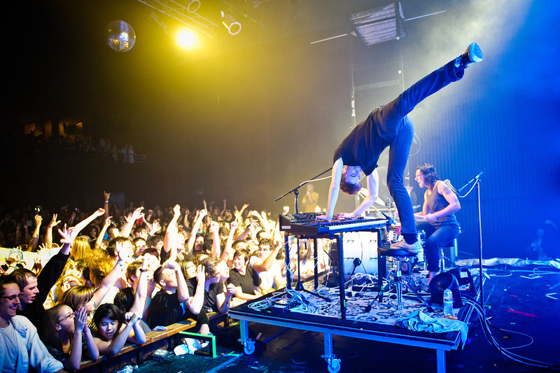 Matt Johnson and Kim Schifino perform during Matt & Kim's sold-out show on October 15, 2010 at State Theatre in St. Petersburg, Florida. From the moment Matt and Kim stepped on stage, it was a non-stop dance party.  Their love for what they do was very apparent by their stage presence, exuberant performance, and interaction with their fans, who reciprocated the love all night long.