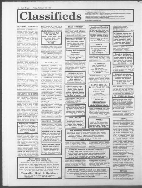 Daily Trojan, Vol. 108, No. 21, February 10, 1989