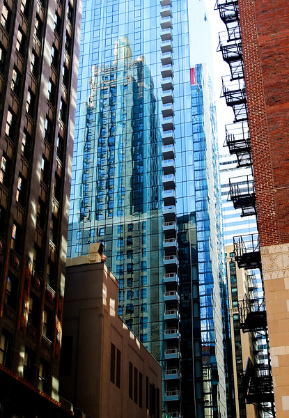 View from the Hampton Inn: Reflection of the Carbide and Carbon Building.