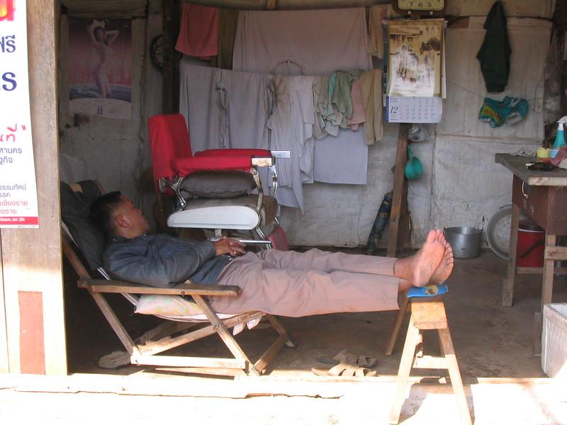 Barber Sleeping.  Mae Salong.