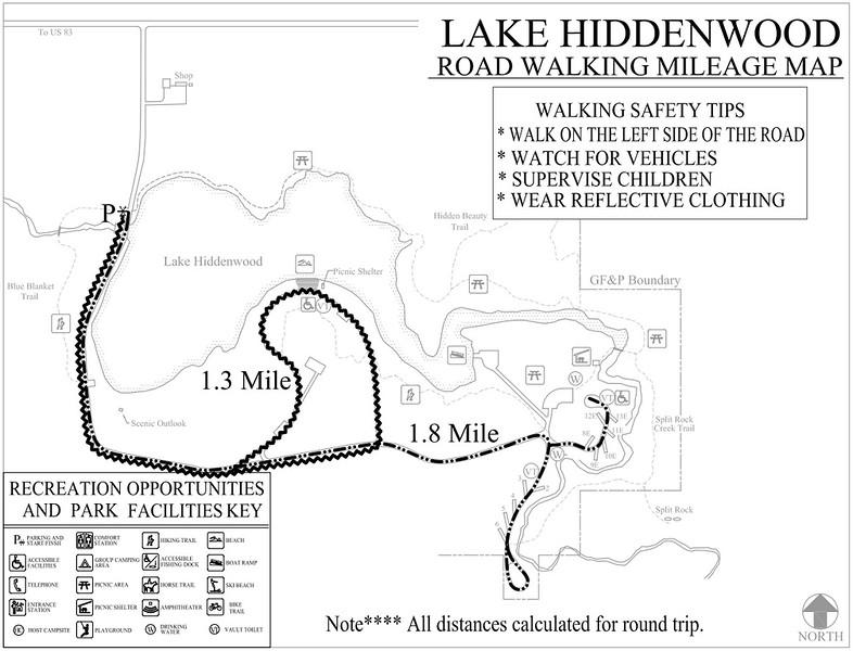 Lake Hiddenwood Recreation Area (Road Walking Map)