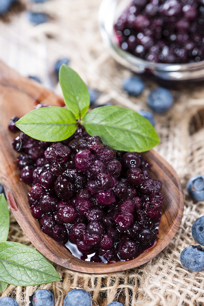 Wooden Spoon With Canned Blueberries