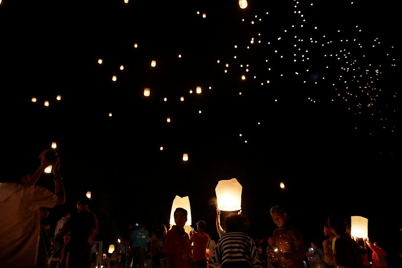 . Hundreds of lanterns which symbolizes the spirits of victims of the Asian tsunami, are released into the sky during a commemoration service to mark the 10th anniversary of the day this natural disaster happened, Friday, Dec. 26, 2014 in Ban Nam Khem, Thailand. Dec. 26 marks the 10th anniversary of one of the deadliest natural disasters in world history: a tsunami, triggered by a massive earthquake off the Indonesian coast, that left more than 230,000 people dead in 14 countries and caused about $10 billion in damage. (AP Photo/Wong Maye-E)