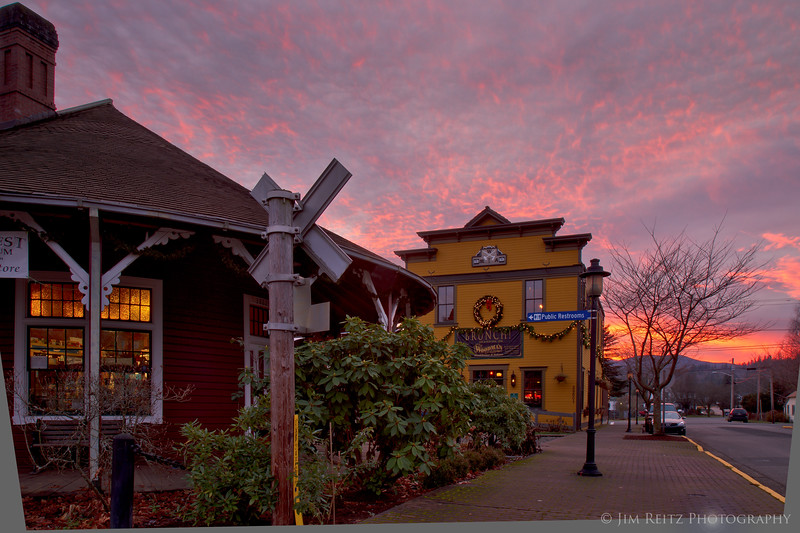 Historic Snoqualmie at sunset
