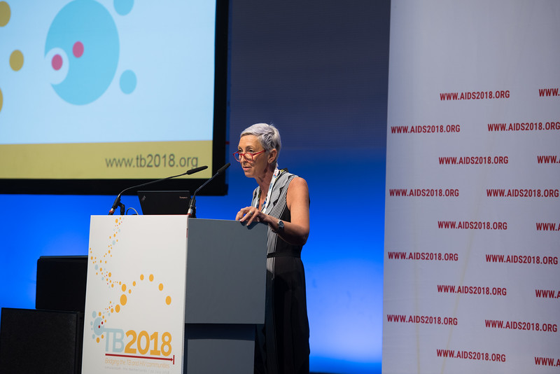 22nd International AIDS Conference (AIDS 2018) Amsterdam, Netherlands   Copyright: Marcus Rose/IAS  Photo shows: TB 2018: Bridging the TB and HIV Communities. Discussion: Bringing TB prevention to scale. Linda-Gail Bekker, Desmond Tutu HIV Centre, South Africa.