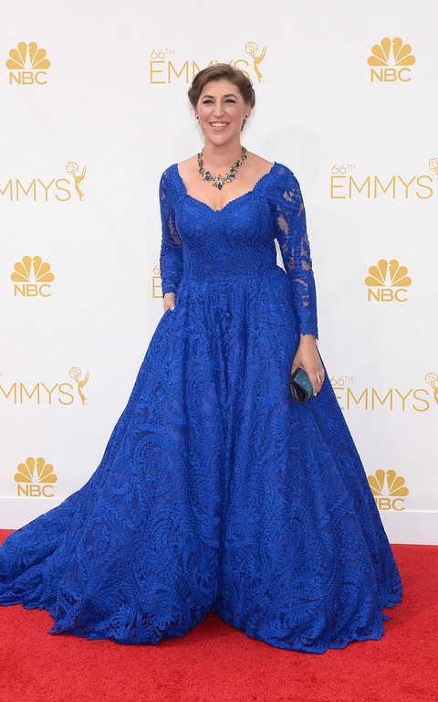. Mayim Bialik on the red carpet at the 66th Primetime Emmy Awards show at the Nokia Theatre in Los Angeles, California on Monday August 25, 2014. (Photo by John McCoy / Los Angeles Daily News)