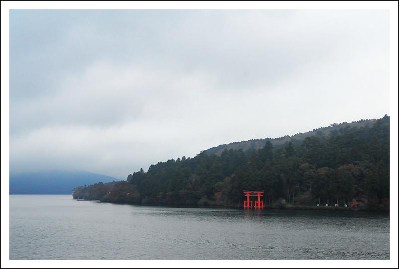 Hakone Shrine at dusk. Dry brush filter.