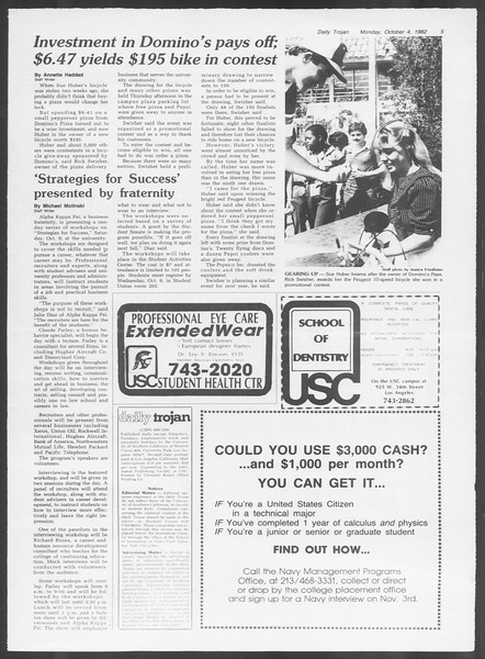 Daily Trojan, Vol. 92, No. 20, October 04, 1982