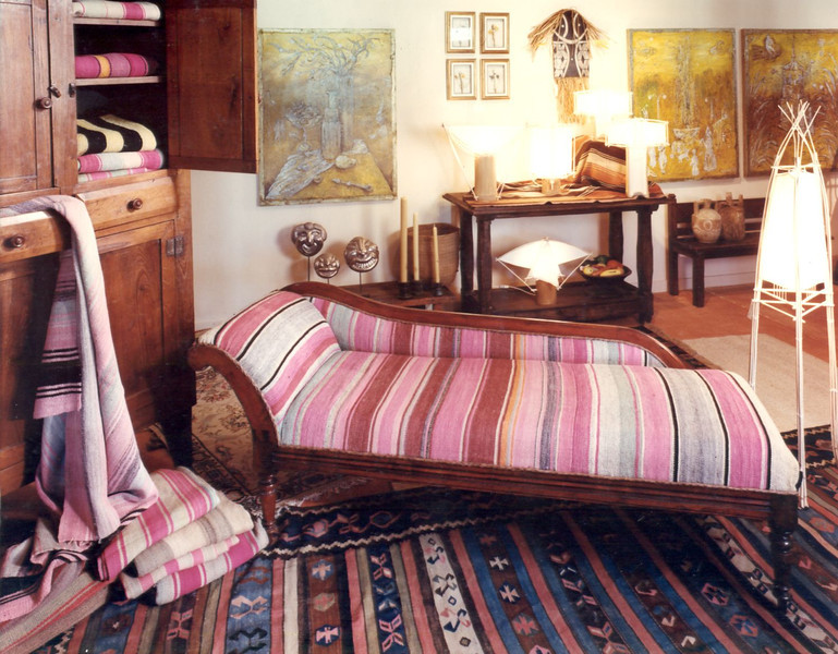 One of many arrangements in the artmosphere showroom set up by Julian Maison and Marcel Maison. Blankets we found in bolivia were frequently used to upholster antiques like this one.
