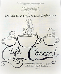 2011 11 10:  Cafe Concert, Duluth East H.S. Orchestras, New h.s. venue