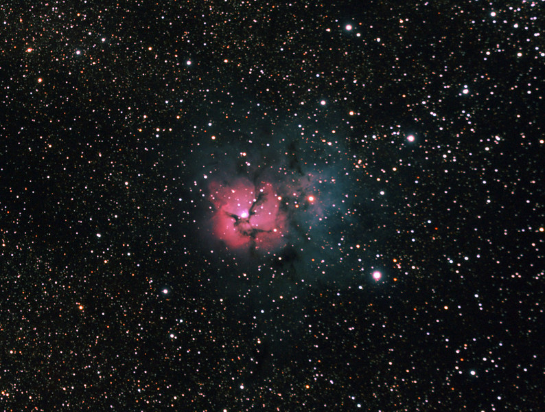 Messier M20 - NGC6514 Trifid Nebula - 26/8/2011 - Dark Sky site near Wagin (Processed stack)   DeepSkyStacker 3.3.2 Stacked 80% of 19 Images ISO 800, 300 Sec, 16 DARK, 37 BIAS, 37 FLATS, post processed by Adobe Photoshop CS5   Telescope - Apogee OrthoStar LOMO 80/480 with Hotech SCA Field Flattener, NO filter, Canon 400D DSLR, Ambient 6C+/-1C. Mount - Skywatcher NEQ6 Pro. Guidescope - Orion ShortTube 80 with Star Shoot Auto Guider.