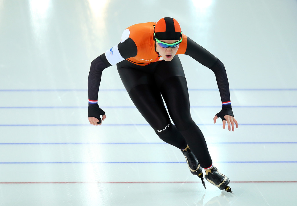 . Lotte van Beek of the Netherlands competes during the Women\'s 1000m Speed Skating event on day 6 of the Sochi 2014 Winter Olympics at Adler Arena Skating Center on February 13, 2014 in Sochi, Russia.  (Photo by Quinn Rooney/Getty Images)